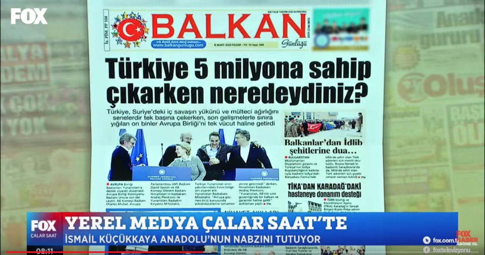 Balkan Günlüğü Gazetemiz artık FOX TV'de