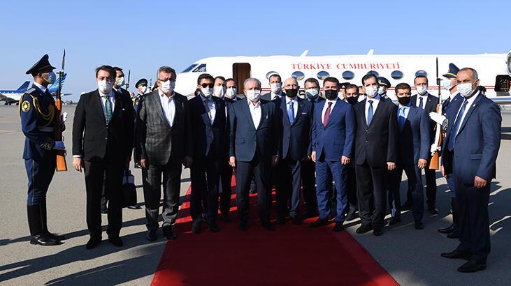 TBMM Başkanı Şentop, beraberindeki milletvekilleriyle Azerbaycan'a gitti